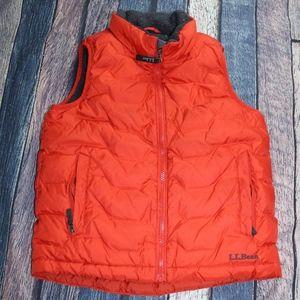 LL Bean Orange Downtex Puffer Vest Boys Size 8 M